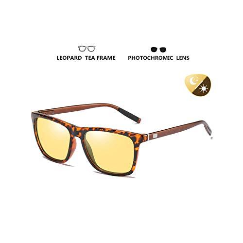 Sport-Sonnenbrillen, Vintage Sonnenbrillen, Brand Square Photochromic Sunglasses Polarized Männer HD Day&Night Vision WoMänner Safety Driving Glasses Discoloration Oculos De Sol Leopard frame