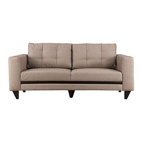 HomeTown Garcia Fabric 3 Seater Sofa (Brown)