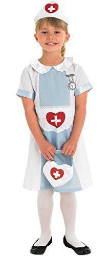 Mädchen Kinder Traditionell Krankenschwester Arzt MIT TASCHE Buch Tag Woche Verkleidung Kleid Kostüm Outfit - Blau, Blau, 7-8 Years