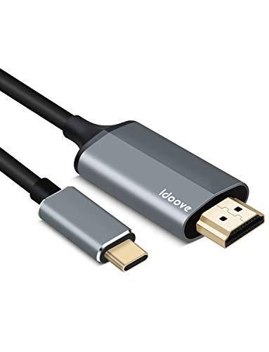 Adattatore USB C a HDMI, Cavo USB 3.1 Tipo -C a HDMI 4K /6FT/1,8 M Adattatore Thunderbolt 3 Compatibile con MacBook Pro, Samsung Galaxy Note 9 S9 S8 Plus Nota 8, Huawei Mate 10 Pro P20, ecc.