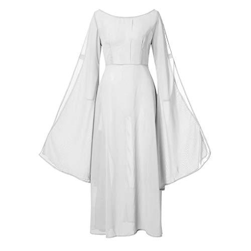MMOOVV Damen Vintage mittelalterlichen Renaissance Cosplay Retro Party Club Kleid Abendkleid (Weiß S)