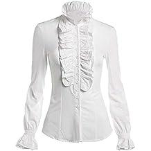 Hibote Femme Manche Longue Chemisier - Rétro Couleur Unie Slim Fit Shirts à  Volants Mode Col a032b65bbb63