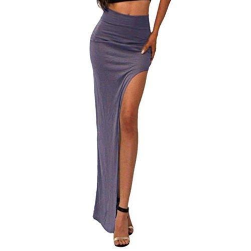 Ai.Moichien Der reizvollen Frauen Multicolor hohe Taillen Seiten Schlitz Split Slim Wrap langes Rockkleid - Split-baumwoll-mischung