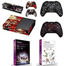 L'Amazo Custom XBOX ONE Bundle Schutzgeschenk, komplettes Set von Konsole Vinyl-Aufklebern und 2 x Controller Silikon-Schutzhüllen in Einzelhandelsverpackung, Gamer Kit Sport - Spiel Bundle One Xbox Konsole