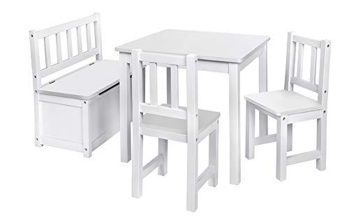 Original IMPAG® Kinder-Sitzgruppe | Großes Kinderzimmer Set 1 Tisch, 2 Stühle, 1 Truhenbank mit Qualitäts-Beschlag | Nordische Fichte | Ergonomisch | Top Möbel-Qualität | Sicherheitsgeprüft -