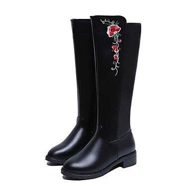 RTRY Scarpe Donna Pu Autunno Inverno Comfort Stivali Tacco Piatto Ginocchio Stivali Alti Per Casual Nero Black Us7.5 / Eu38 / Uk5.5 / Cn38 US7.5 / EU38 / UK5.5 / CN38