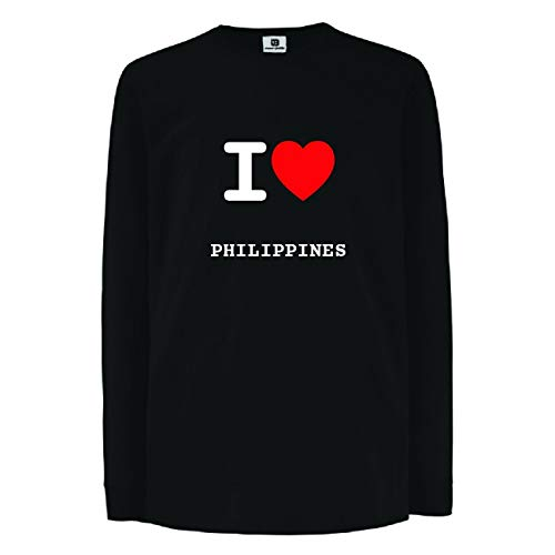 JOllify PHILIPPINES Kinder Junge Mädchen Langarm T-Shirt - Design: I love- Ich liebe - Größe: 116-5-6 Jahre -