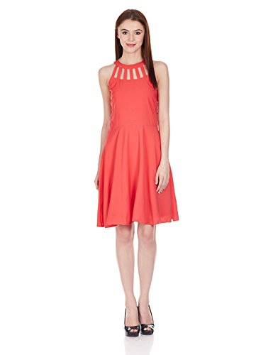 Harpa Women's Cut-Out Dress (GR2149_Coral_L)  available at amazon for Rs.500