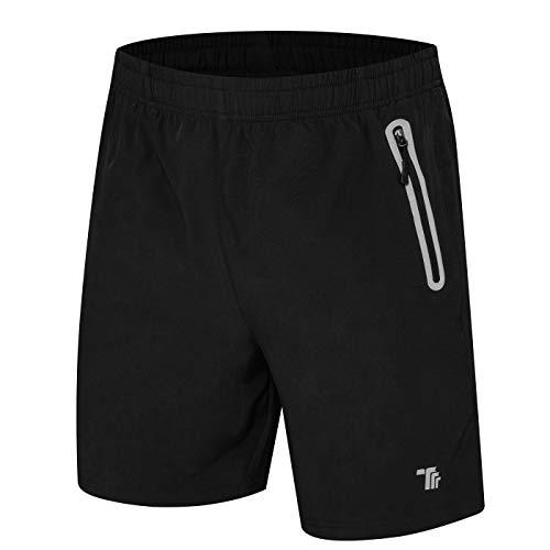 donhobo Kurze Hosen Herren Shorts Sport Trainingsshorts Fitness Short Sporthose mit Taschen Reißverschluss(01Schwarz,L)
