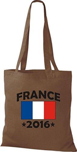 ShirtInStyle Stoffbeutel Baumwolltasche France 2016 Ländertasche, Farbe Pink mittelbraun