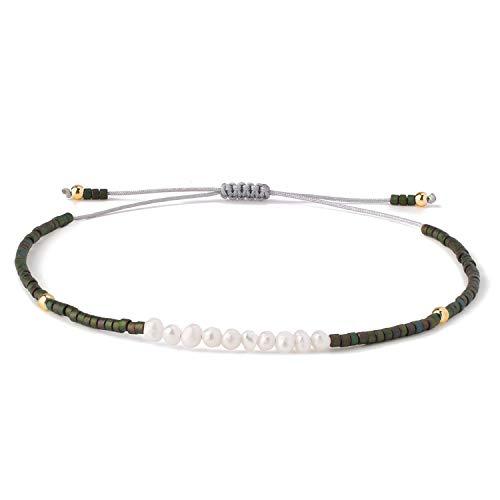 KELITCH Frauen Armbänder für Mädchen Männer Shell Perle Japanische Rocailles Charme Freundschaft Armbänder Handgemachte Verstellbare Schnur Armband - Dunkelgrün P
