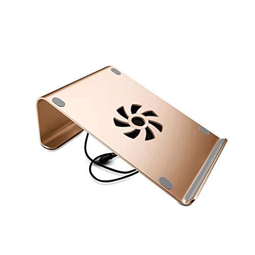 HANXIAOL-3C Laptopständer, Ergonomischer Tragbarer Laptop-Kühler Aus Aluminiumlegierung, Geeignet Für Computer Unter 17 Zoll, 260 Mm × 186 Mm (Color : Fan-Gold)