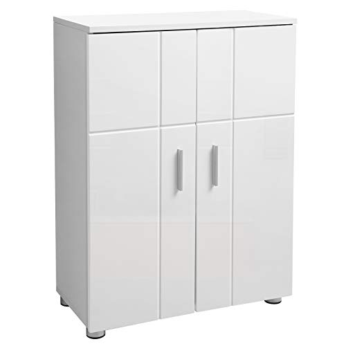 VASAGLE Badezimmerschrank, Badschrank, Beistellschrank mit verstellbaren Regalebenen und Doppeltür, Flurschrank, sanft schließende Scharniere, 60 x 30 x 82 cm, weiß BBK42WT