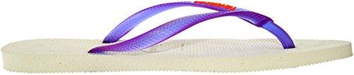 Havaianas Slim logo ice violet H4119787-3445 Damen Zehentrenner White Purple
