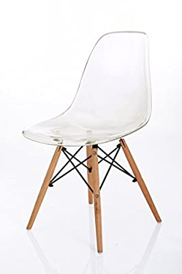VECELO Eames Style Eiffel Clear Plastic Retro Dining Chair, Set of 2 - cheap UK light shop.
