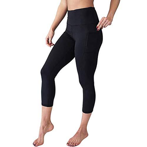 Xmiral Donna a Vita Alta Leggings Elastico,Pantaloni Tuta Donna,Pants Donna,Pantaloni sportivi da yoga guaina massaggiante vita alta sotto ginocchio calzoncino dimagrante XS nero