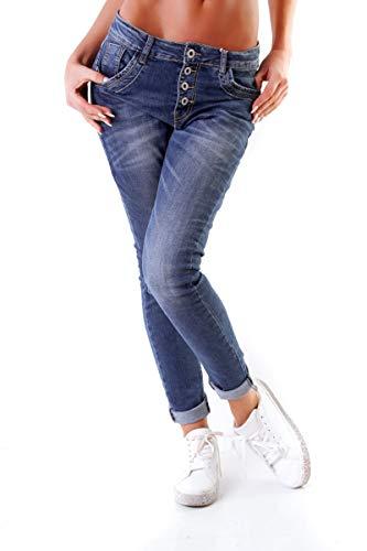 OSAB-Fashion 10847 LEXXURY Damen Jeans Röhrenjeans Hose Stretch Boyfriend Slimfit Knopfleiste