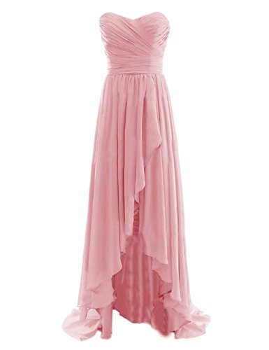 Fanciest Damen Chiffon Maxi Abendkleider Lang Brautjungfer Kleider Blush