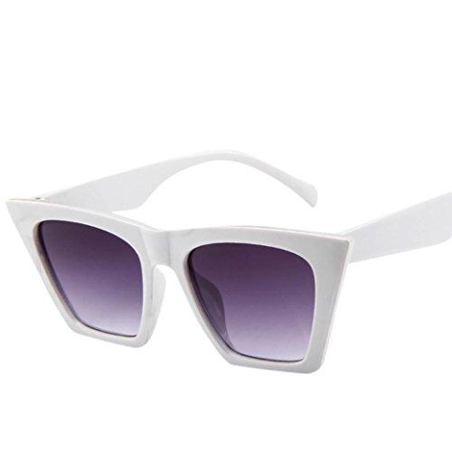URSING Mode Damen Oversized Übergroße Sonnenbrille Vintage Retro Mode Katzenauge Brille Sonnenbrille Super Coole Damenbrillen Frauen Women Cat Eye Sunglasses Travel Eyewear (Weiß)