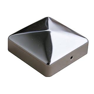 Gartenwelt Riegelsberger 1 Stück, Premium Pfostenkappe 91x91 mm aus Edelstahl für Pfosten 9x9 cm Pyramide Zaunkappe Abdeckkappe