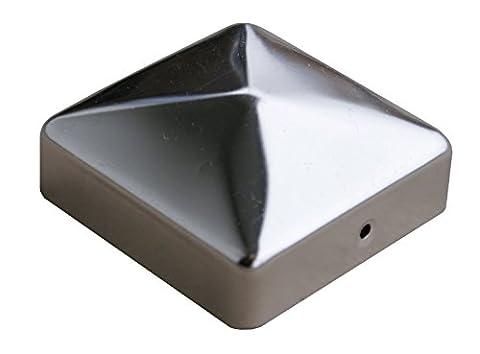 Premium Capuchons de poteau en acier inoxydable Pyramide & avec boule, différentes tailles, capuchon pour poteau, poteau V2A de jardin monde Verrou Berger 91 mm