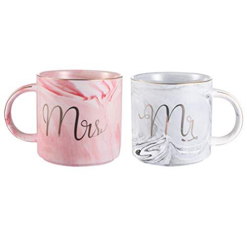 Uarter Keramik Kaffeetassen Mr und Mrs Tassen Marbling mit goldenen Mustern, perfekt für Kaffee, Tee und Wasser, 400 ml, 2 Stücke(Decke und die Löffel dabei sind nicht)