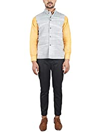 Bihar Khadi Men's Cotton Nehru Jacket (Grey, 40, bkctncw0009)