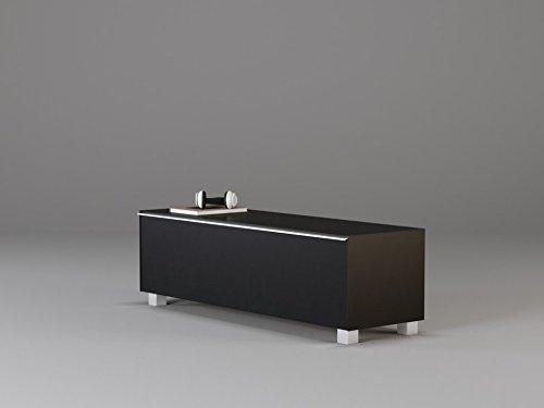 TV-Board Soundboard MAJA Soundconcept verschiedene Farben mit Akustikstoff schwarz in 140x43x42cm oder 180x43x42cm (140, Schwarzglass)