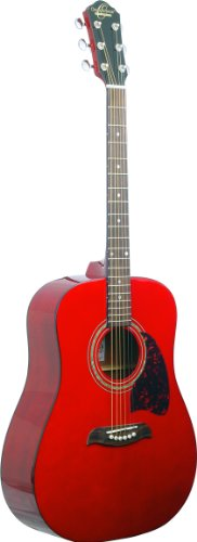 Oscar Schmidt OG2WH chitarra acustica dreadnought P1, Transparent Red