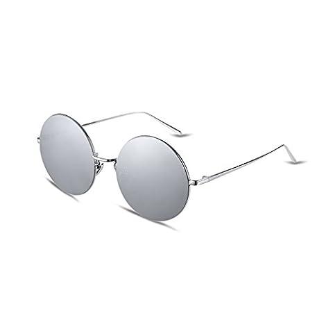 HMILYDYK Men's Driving Polarized Sunglasses Steampunk Retro Round Mirror Lens Metal Frame UV400 Eyewear