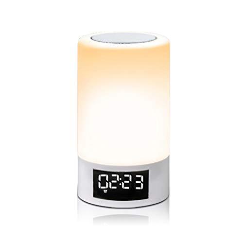 WleSpeakers Bluetooth Lautsprecher LED-Leuchten, Subwoofers Bunte Touch-Smart-Lautsprecher, Heim Emotional Atmosphäre Licht-Lautsprecher mit für Kinder, Party, Schlafzimmer, Camping, Handy,White