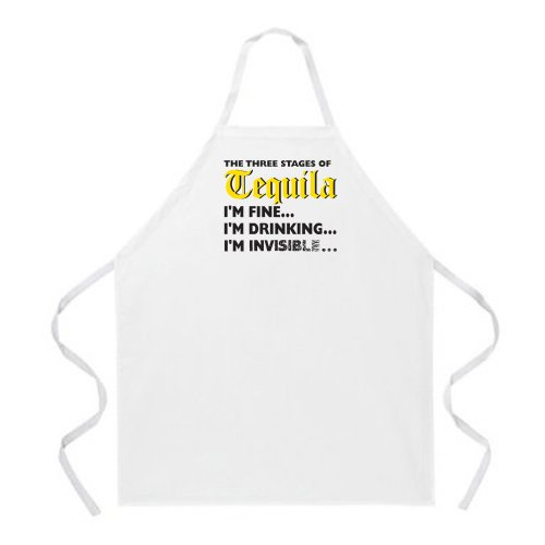 Attitude Apron Stages of Tequila Apron, Natural, One Size Fits Most