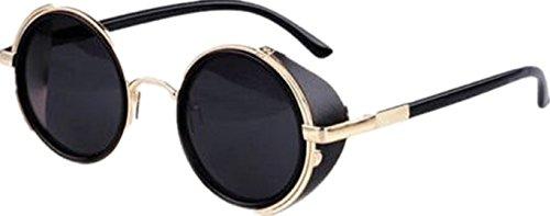 Gafas de sol del Cyber de Ardisle v205 vidrios retros de las gafas de sol de los vidrios de las gafas de sol 50s de Steampunk (negro)