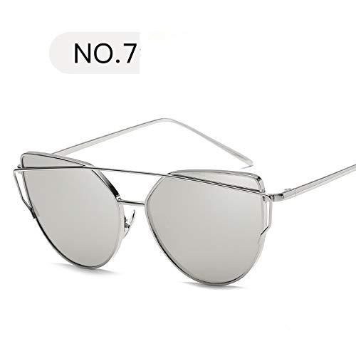 Macxy - Sonnenbrille Frauen Luxus Katzenauge Brand Design Spiegel Rose New Goldweinlese Cateye Mode Sonnenbrille Dame Brillen [C7]