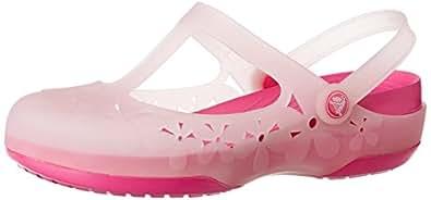 Crocs Women's Carlie MJ Flower Cotton Candy and Fuchsia Rubber Fashion Mary Jane Flats - W6