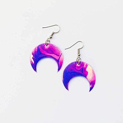 Orecchini Lune - Rockabilly gioielli - Accessori luna - Novità orecchini - Orecchini olografici - Orecchini lune iridescenti- Regalo per lei