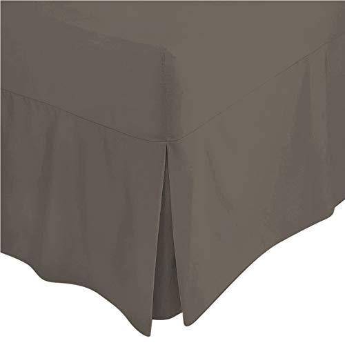 LinenZone Zone de Lin Coton égyptien 200 Fils Drap-Housse Tour de lit plissé, Gris, 122 cm Petit Double