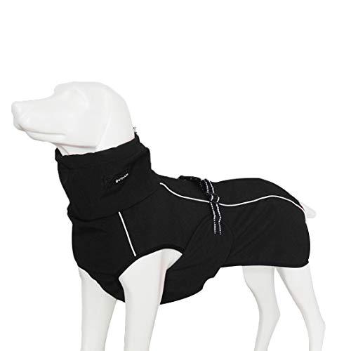 GWELL Hund Hundejacke Wasserdicht Fleece gefüttert Regenjacke Winterjacke Funktion Weste mit D-Ringe Gurt für Mittelgroßen Großen Hund Winter Herbst Frühling Schwarz M