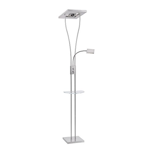LED Deckenfluter dimmbar mit flexibler Leselampe und Bluetooth Lautsprecher Box, LED Fluter, USB Port Ladestation, 2050 Lumen warmweiß Drehdimmer