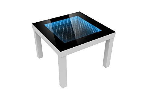 FORAM Modern Couchtisch Glastisch Beistelltisch Tiefeneffekt Tisch LED 3D (55x55, weiß)