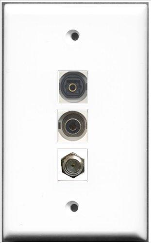 RiteAV-1Port Coax Kabel, Accessoires F und 1Port Toslink und 1Anschluss, 3,5mm-Platte Single Gang Decora Plate
