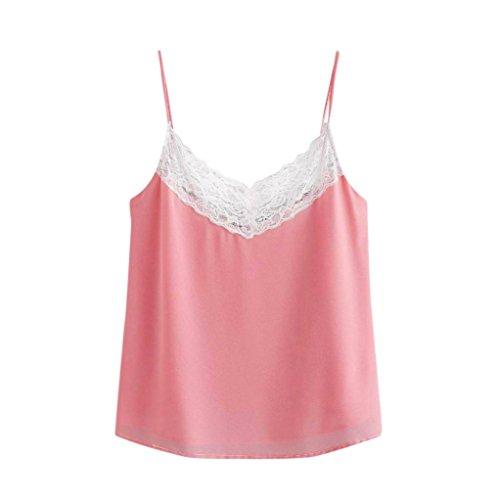 Kobay Women Camisole Tops, Ladies' Casual Summer Lace Patchwork Shirt Sleeveless Vest Tank Tops Blouse