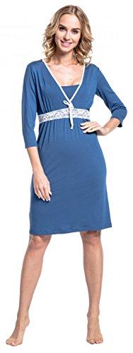 Happy Mama. Damen Umstands-Nachthemd mit Stillfunktion. Stillshirt 3/4-Arm. 255p Blau Grau