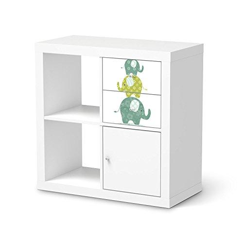 Jugendzimmer Accessoires für IKEA Kallax Regal Schubladen   Möbel-Tattoo Dekoaufkleber   Ideen für IKEA Möbelfolie Kinder-Zimmer Innendeko   Kids Kinder Elephants