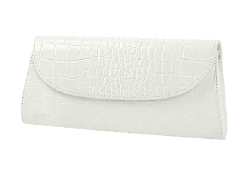 Damen neue stilvolle Designer-Leder-Look Hardcover flapover weiß clutch bag in Hüllkurvenform, Baguettes Tasche