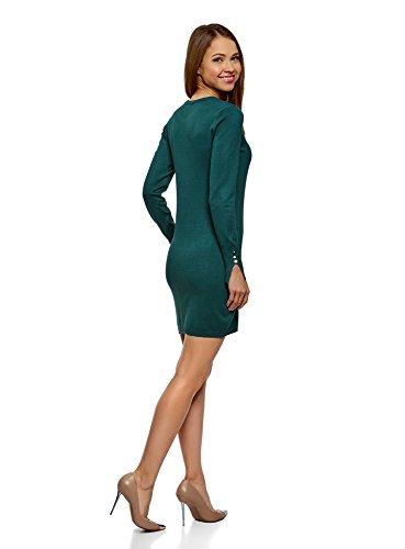 oodji Collection Damen Viskose-Kleid Basic mit Knöpfen auf den Ärmeln Grün (6E00N)