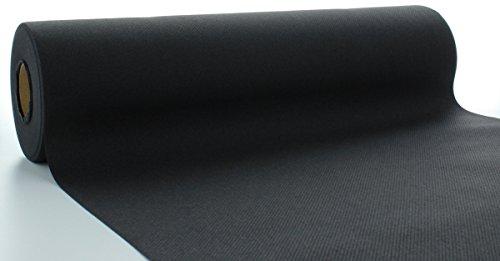 s® Airlaid Tischläufer 40 cm x 24 m / Tischdecken-Rolle stoffähnlich / praktische Einmal-Tischdecke für Hochzeit oder Partys / Schwarz (Rotes Papier Tischdecken)