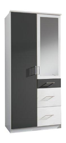 Wimex Kleiderschrank/ Drehtürenschrank Click, 2 Türen, 2 große, 1 kleine Schublade, 1 Spiegel, (B/H/T) 90 x 199 x 58 cm, Weiß/ Absetzung Anthrazit -