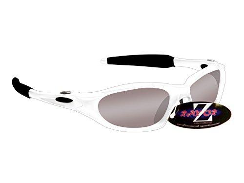 Rayzor professionali leggeri UV400 Bianco Sport Wrap Vela occhiali da sole, con un 1 piece Fumo obiettivo rispecchiato.
