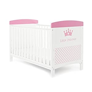 Obaby Grace Inspire Cot Bed - Little Princess Playpens ★ high quality non-toxic materials,Size:120cm/150cm/180cm/200cm ★ Vertical lift structure: no space is occupied, and it is more convenient to enter and exit. Push the fence down at the push of a button ★ height adjustment: can be adjusted according to the thickness of the mattress, so that the bed is close to the mattress. Avoid gaps between the mattress and the guardrail to prevent your child from falling 7